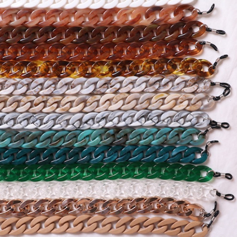 LEAYH 10pcs Lot Multicolor Hawksbill Amber Concave Shape Creative Eyeglasses Chains Acrylic Glasses Hanging Neck Strap Chains in Eyewear Accessories from Apparel Accessories