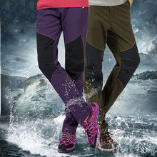 Winter New Brand Clothing Women/Men's Warm Fleece Thermal Windproof Waterproof Pants Patch Snowboard Straight Pants