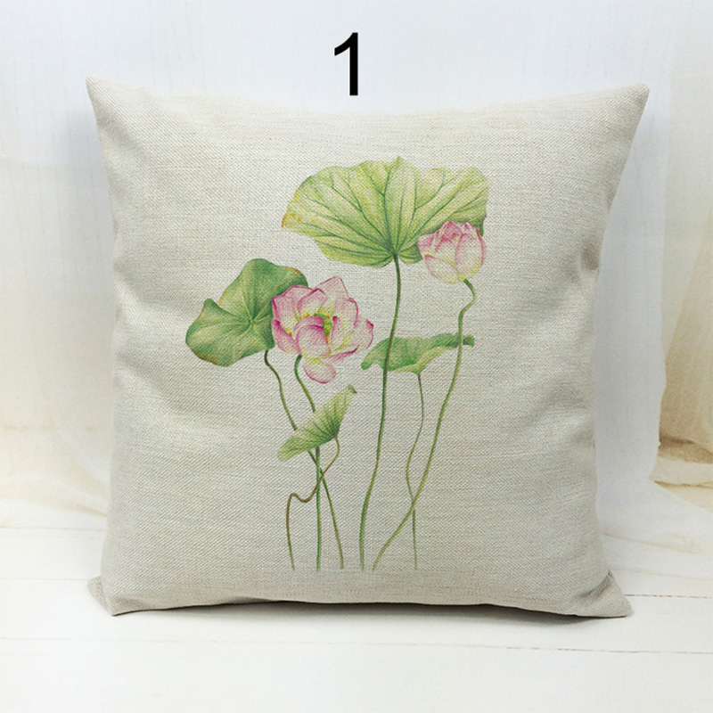 New Cotton Linen Printing Flower lotus Pillow Case Cushion Cover Home Decor