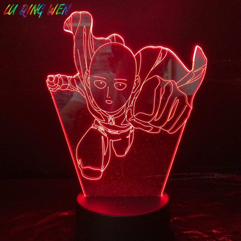 One Punch Man Table Lamp Bedroom Decoration Cartoon RGB Touch Sensor  Children Kids Gadget Gift Saitama Night Light LED USB Decor