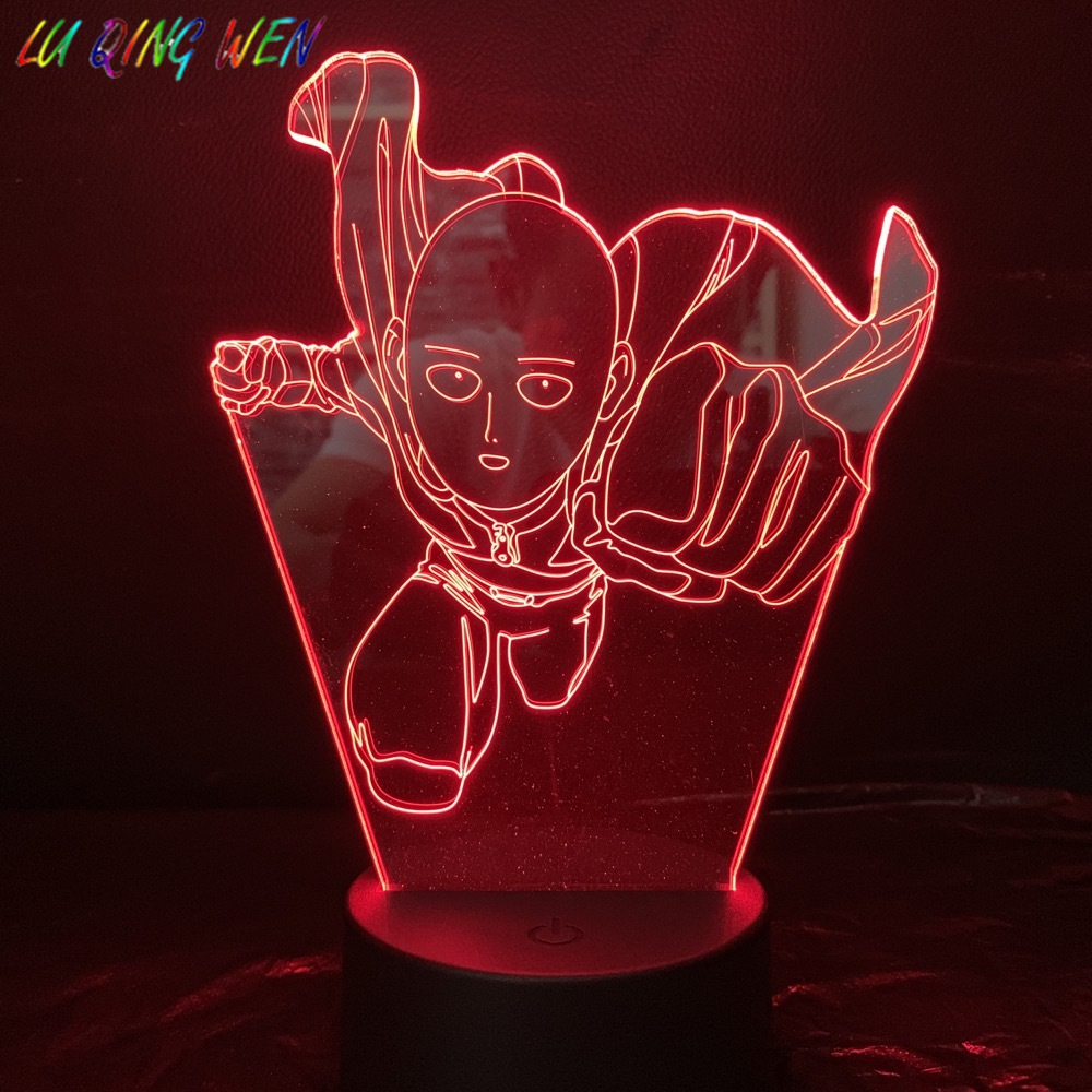 One Punch Man Table Lamp Bedroom Decoration Cartoon RGB Touch Sensor Children Kids Gadget Gift Saitama Night Light LED USB Decor in LED Night Lights from Lights Lighting