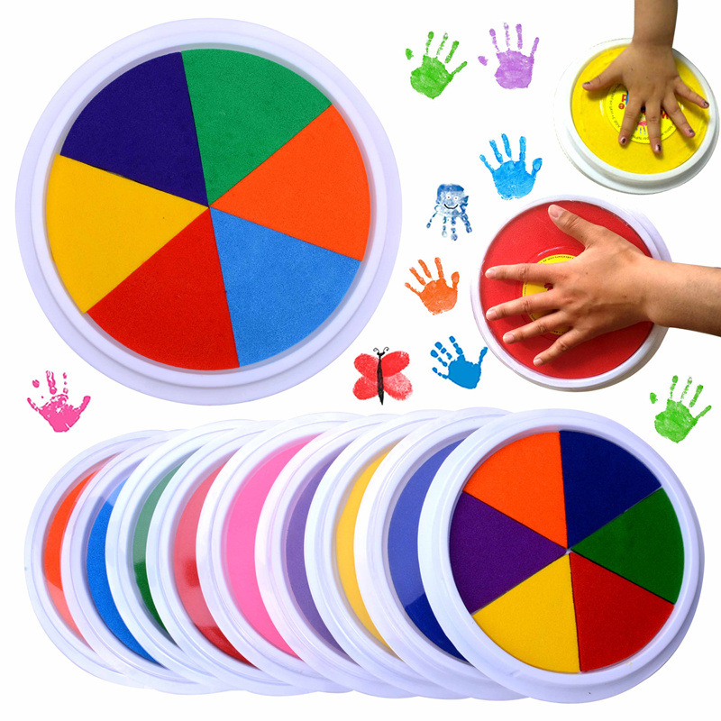 Funny 6 Colors Ink Pad Stamp DIY Finger Painting Craft Cardmaking For Kids Montessori Drawing Baby Toys 0-12 Months Kids Toy