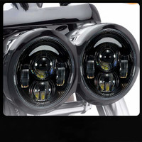 For Harley Motorcycle Dyna Fat Bob Motor Style Head Lights 4.5inch single low beam and single high beam For FatBob Dual Headlamp|  -