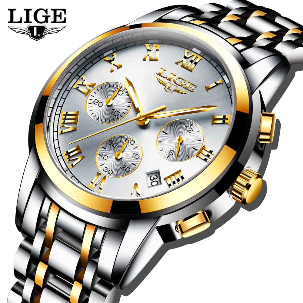 Relogio Masculino LIGE Men's Watches Business Luxury Brand Watch Mens Quartz Stainless Steel Clock Fashion Chronograph Watch Man