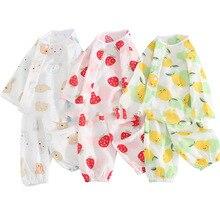 Детская Пижама из тонкой ткани с длинными рукавами, хлопковый комплект из невесомого материала для отдыха, Летнее Детское нижнее белье с длинным рукавом, одежда с кондиционированием воздуха
