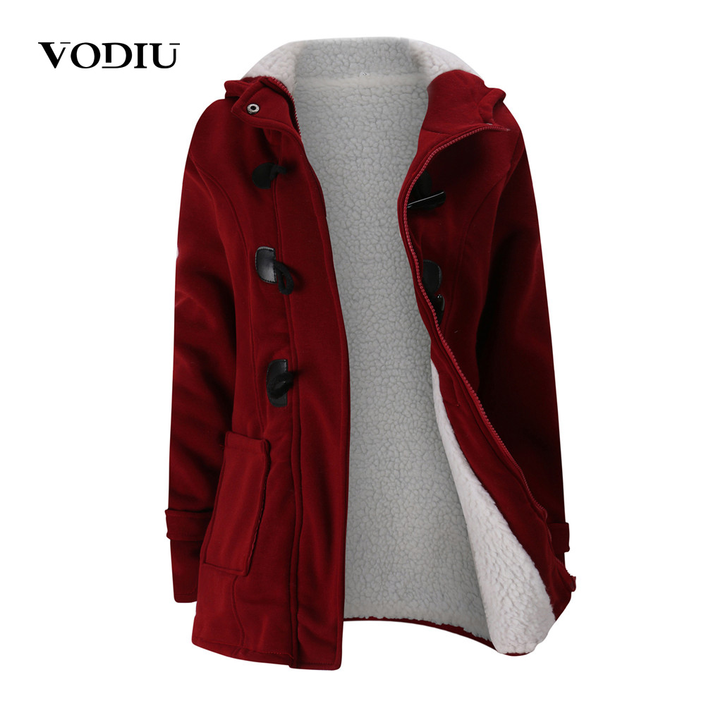 2019 Hooded Jacket Winter Women Wool Blend Coats Winter Horn Leather Buckle Parka Outerwear Female Clothes Plus Size 3XL 5XL image