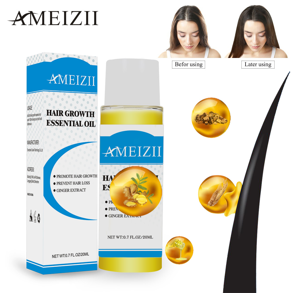 AMEIZII Hair Growth Essential Oil Products Organic Natural Ginger Extract Hair Loss Care Serum Dense Treatment Essence 20ML
