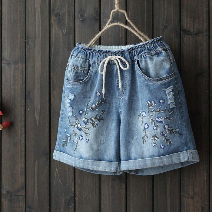 Floral Embroidery Cotton Denim Shorts Women Summer 2019 New Arrivals Loose Plus Size M-XXL