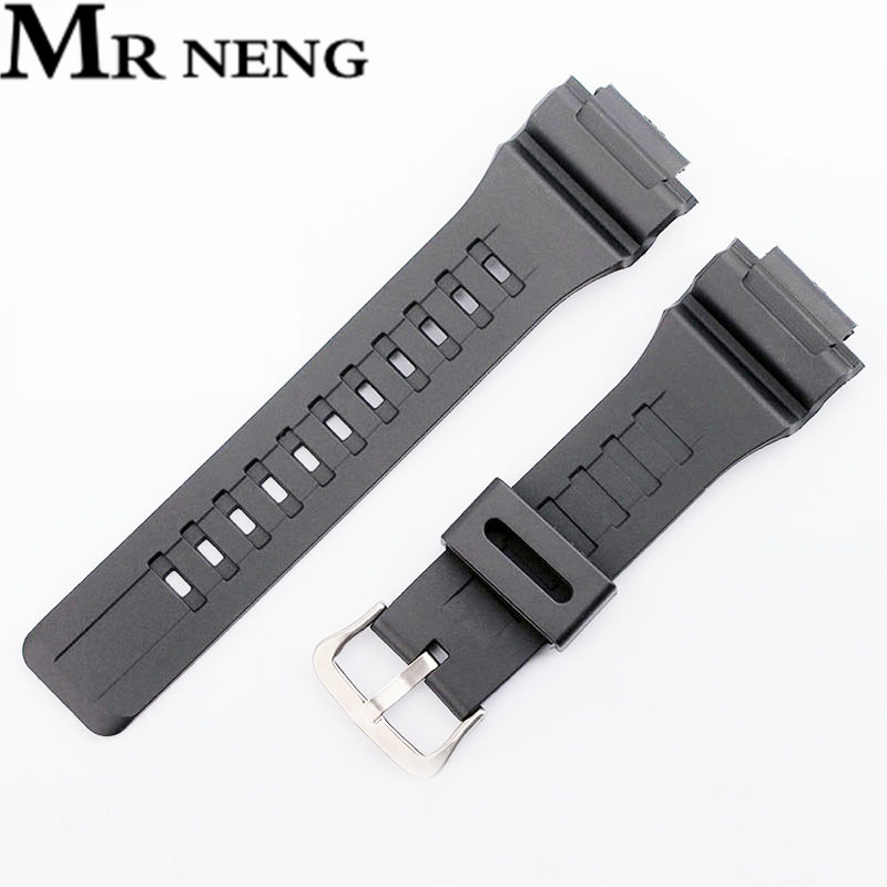 MR NENG Rubber Strap for AQ-S810W, AQ-S800W, MRW-200H, Black Silicone Watchband Pin Buckle Strap Watch Wrist Bracelet MenMR NENG Rubber Strap for AQ-S810W, AQ-S800W, MRW-200H, Black Silicone Watchband Pin Buckle Strap Watch Wrist Bracelet Men