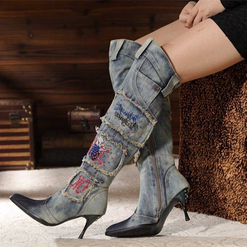 Choudory new fashion botas mujer jeans blue denim boots for women high heels cowboy boots overknee thigh high boots shoes woman