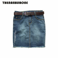 THENANBURONE Plus Size Pencil Denim Skirts Womens 2017 Summer Embroidered Short Jeans Skirt Hot Women Casual