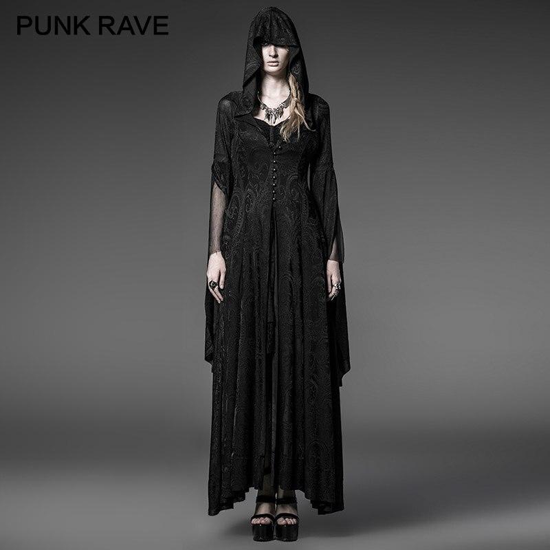 PUNK RAVE gothique tricot Jacquard Vintage longue robe à capuche Steampunk noir femmes Halloween sorcière robes de soirée