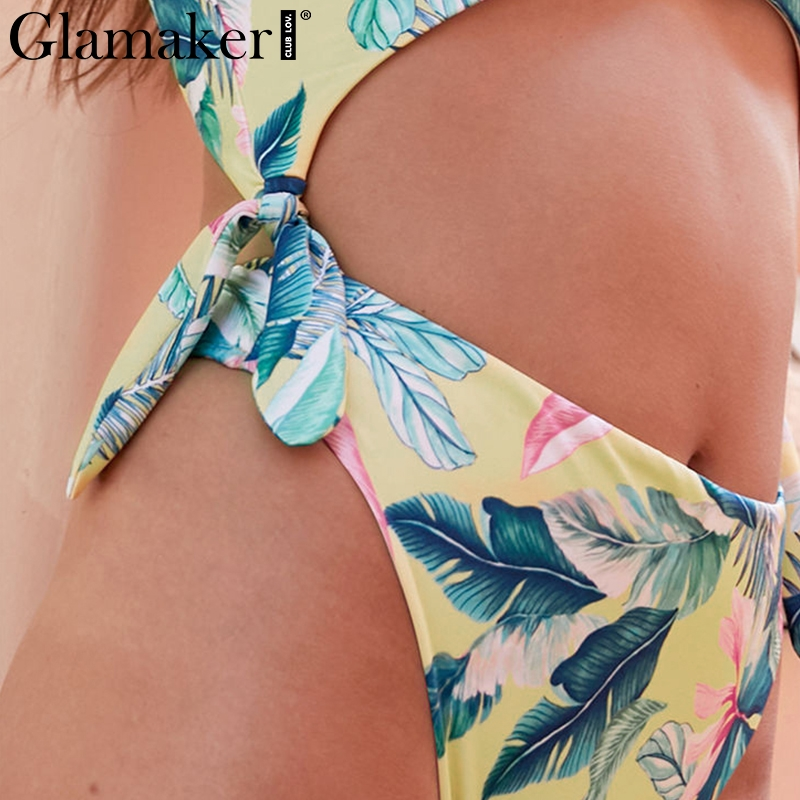 Glamaker Boho flower sexy bodysuit women Bow hollow out backless romper women jumsuit Beach wear Summer style overalls
