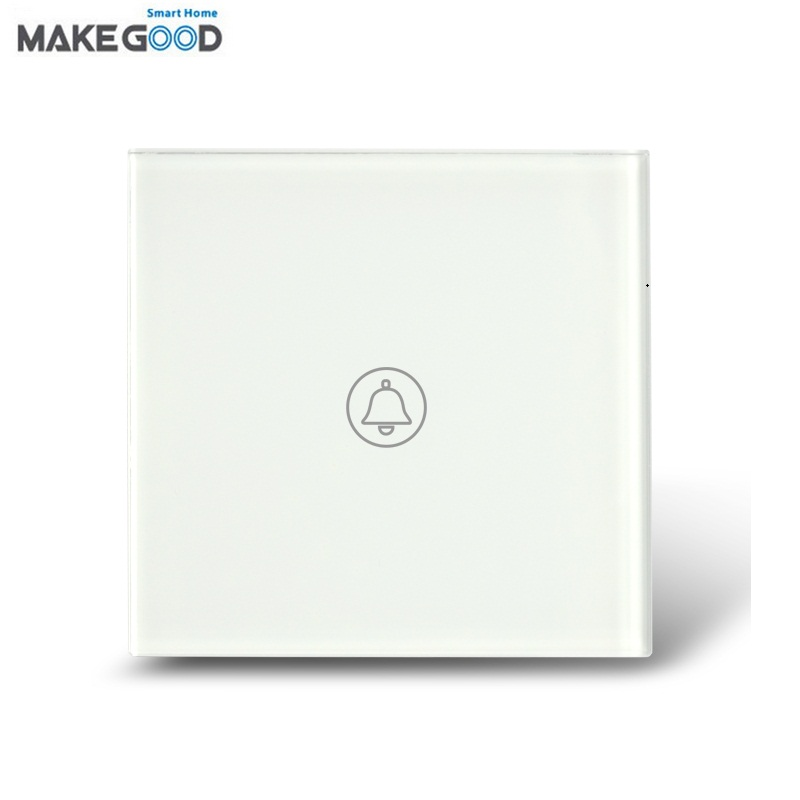 MakeGood UK Standard 1 Gang 1 Way Crystal Glass Panel Touch Switch, Ding-dong Doorbell Switch with Waterproof, AC120-240V -white makegood uk standard touch switch 3 gang 1 way crystal glass panel wall switch for smart home ac110 240v led indicator