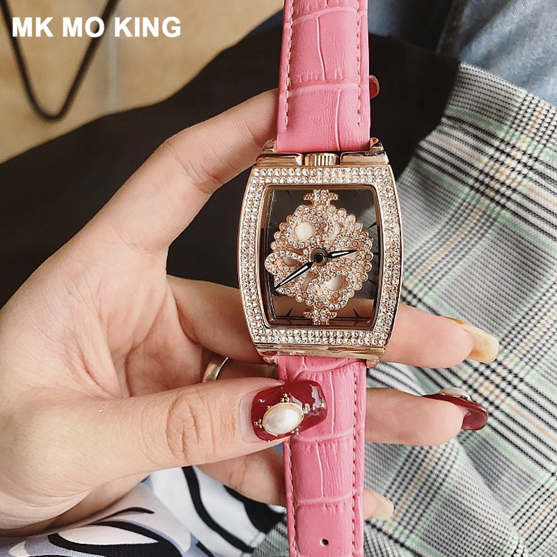 Women Watches Top Brand Luxury Rhinestone Rotating Quartz Women's Clock Hollow Transparent Bracelet Female Clock Relogio reloje