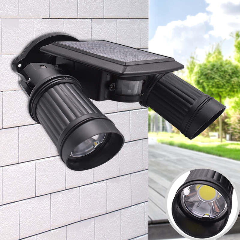 Double Insulated Outdoor Security Lights: 10W Solar Light COB Led Bead Double Head Adjustable Lamp