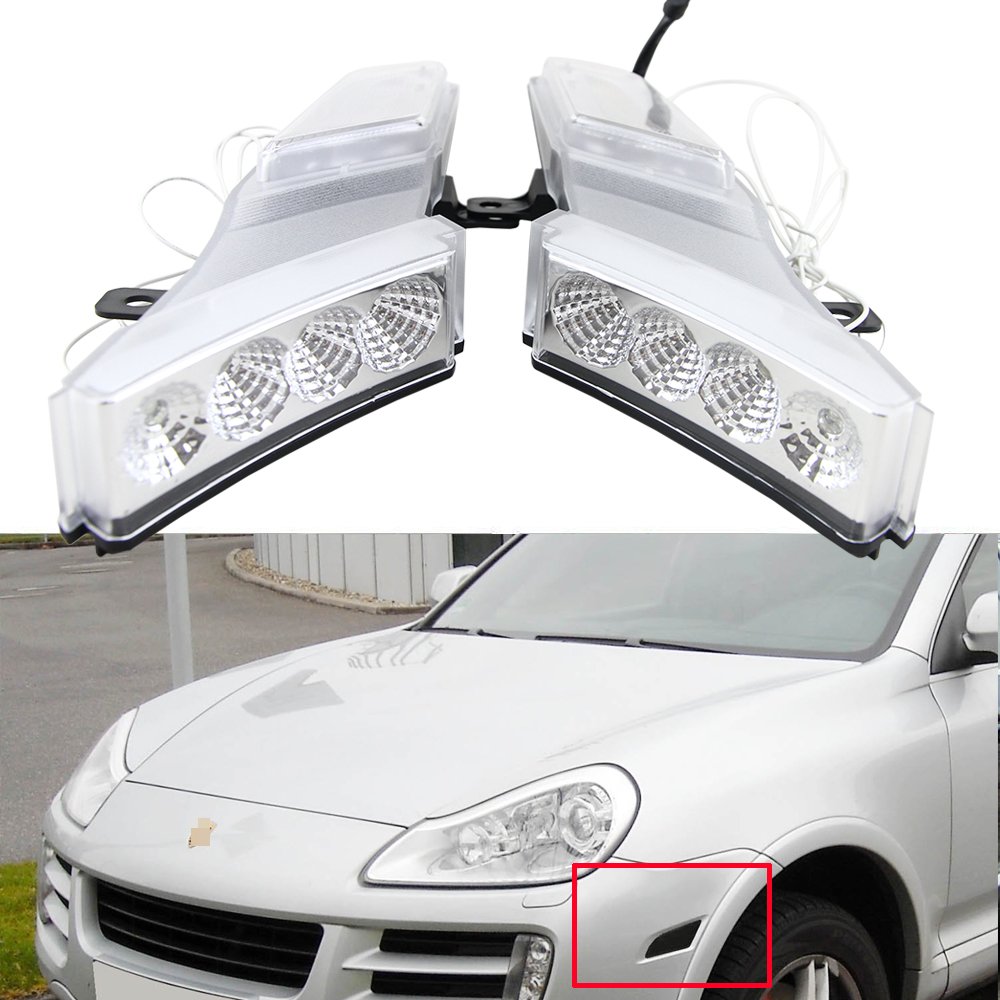 One Set 12V Led Amber Side Marker Turn Signal Lights W White Running Light For Porsche