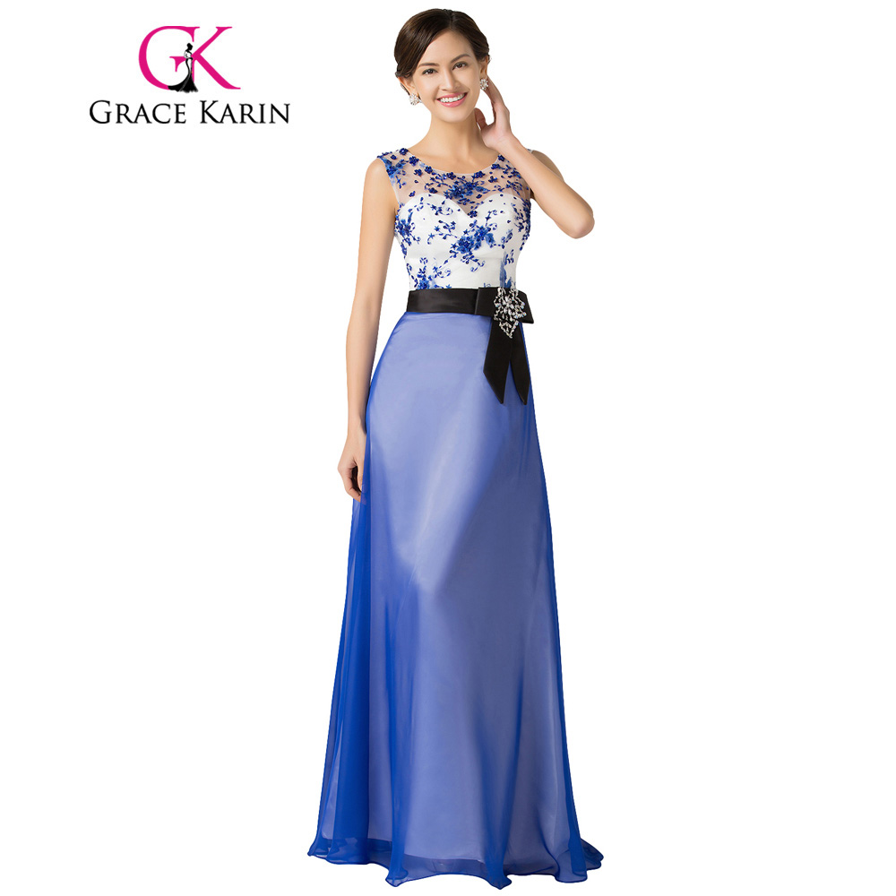 Grace Karin Long Evening Dresses Chiffon Elegant Beautiful Luxury Dinner Formal Evening Gown with Beading Robe De Soiree 2018