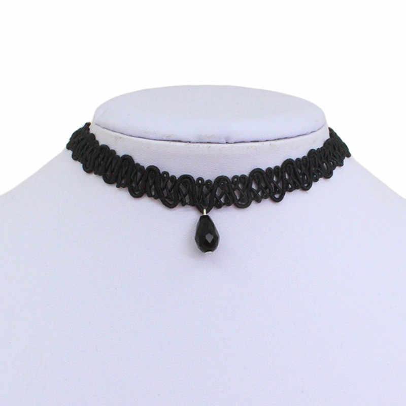 Kulit Lace Choker Pendant Kalung Kristal Bib Kerah Hitam Kalung Pendek Wanita Perhiasan