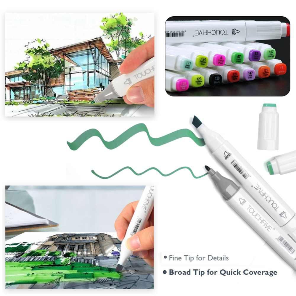 TOUCHFIVE белые маркеры граффити Twin маркер скетч на спиртовой основе двойной наконечник для рисования 60 Цвет комплект, для рисования, рисования