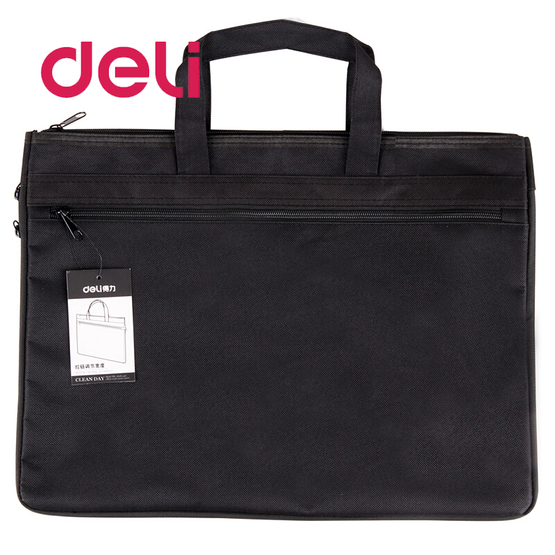 Deli 1PCS Big Capacity Double Layers Document Holder Zipper File Bag Handle Waterproof Canvas Papers Laptop Business Handbag