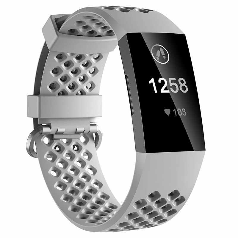 حزام لياقة ل Fitbit تهمة 3 تنفس Sweatproof أساور سيليكون استبدال حزام للرجل المرأة صغيرة كبيرة حجم