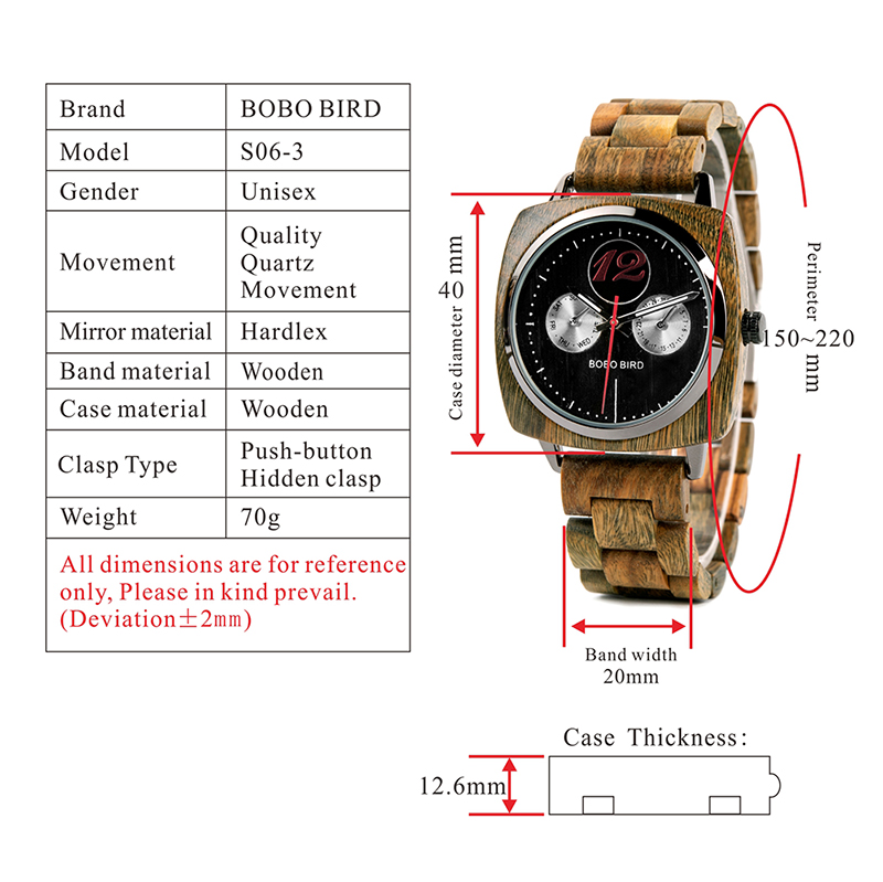 New Design! Luxury & Classic Wood Watch For Men W/Date Display & Gift Wood Box 7