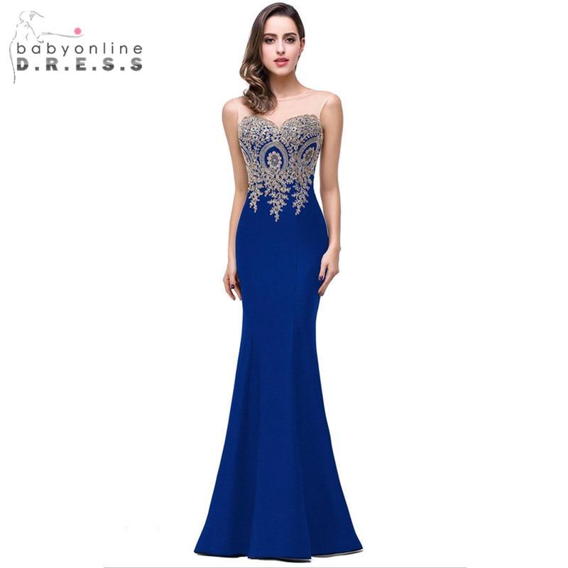 Robe Demoiselle D'honneur Elegant Appliques Lace Royal Blue Bridesmaid Dresses Cheap Wedding Party Dress Robe de Soiree(China)