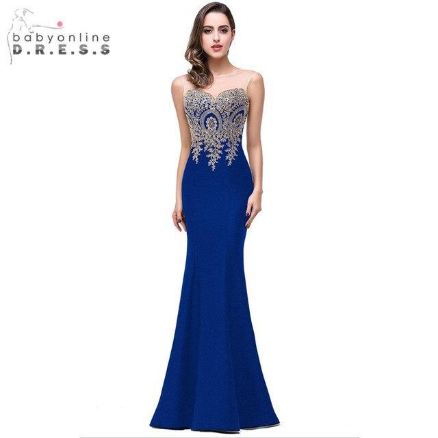 חלוק עלמת D'honneur אלגנטי אפליקציות תחרת רויאל בלו שושבינה שמלות זול חתונה המפלגה שמלת Robe de Soiree
