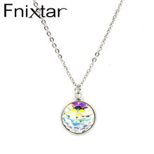 FnixtarResin Mermaid Fish /Dragon Scale Dome Seals Charm Pendant Stainless Steel Necklaces For Women 16mm 20Piece/Lot(China)