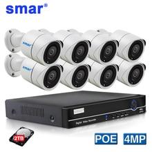 Smor 8CH 4CH poe nvr zestaw 4MP kamera poe system cctv HDMI system kamer bezpieczeństwa H.265 kamera IP IR odkryty Metal odporny na warunki atmosferyczne