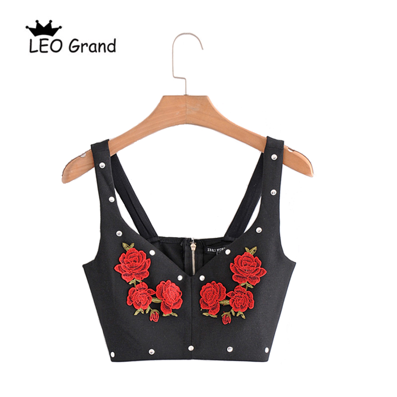 Leo Grand vintage floral embroidery crop top women sexy short camis tank sleeveless outwear tops 902177