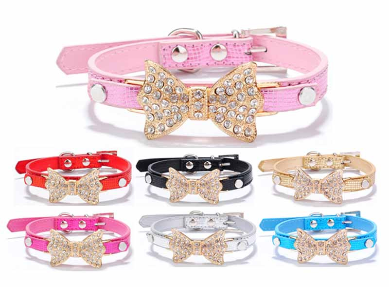 SYDZSW PU Leather Dog Collars & Leads Puppy Pet Leash Luxury Pet Products Diamond Bow Tie Chihuahua Collar Necklace for Cats Dogs2