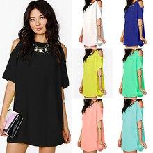 New Women's Fashion Summer Sexy Off Shoulder Chiffon Short Sleeve T-Shirt Tops Mini Dress