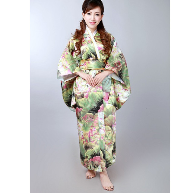 Envío Libre Colorido de Satén de Seda de Las Mujeres Japonesas Del Kimono Con Obi Impreso Atractivo Rendimiento Dropshipping Traje Un Tamaño H023