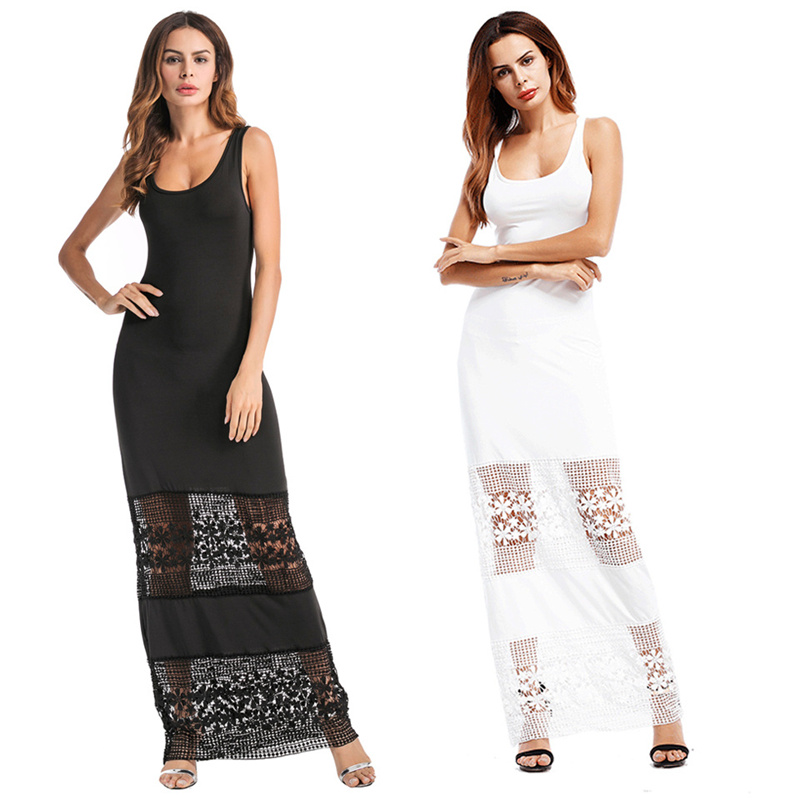 Robe 2017 Summer Dres Empire Lace Hollow Out Solid Robe Maxi Romper White Mexican Dress Black Tunic Pinup Clothing Bobo Dress