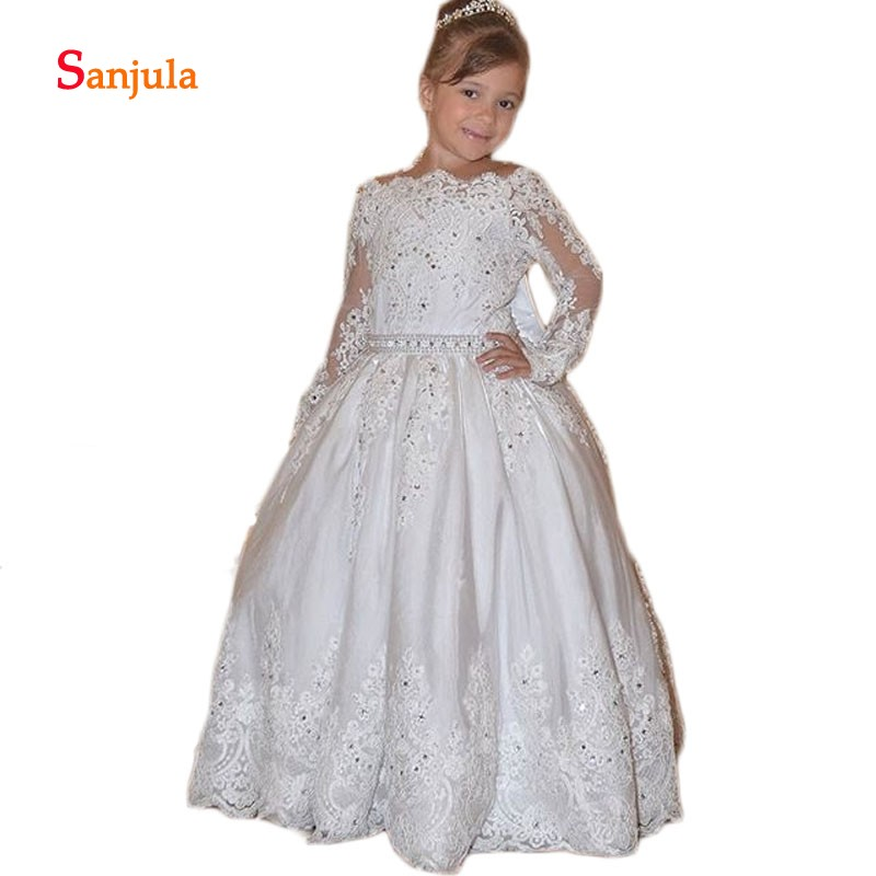Long Sleeve   Flower     Girls     Dresses   Scoop Backless Sexy   Girls   Pageant Party   Dresses   Back Bow Lace Appliques Beaded Kid   Dresses   D91