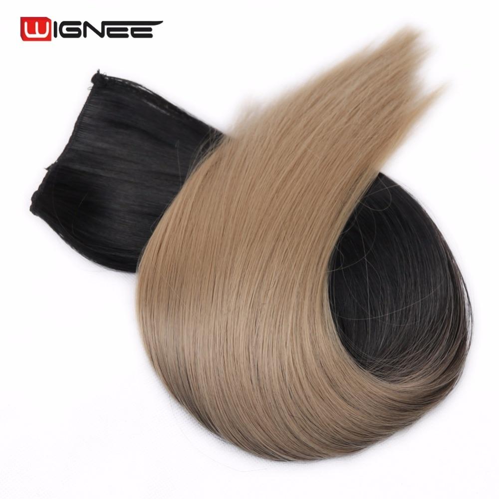 """Wingee 20 """"אורך 5 קליפים שיער בתוספות שיער סינטטי טמפרטורה גבוהה צבע Ombre שיער Wefts חתיכות לנשים"""