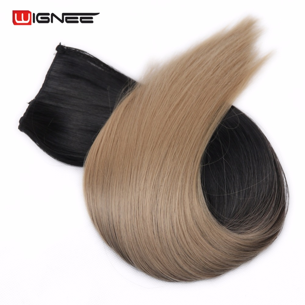 Wingee 20 Length Straight 5 Clips In Hair Extensions Synthetic High Temperature Ombre Color Hair Pieces