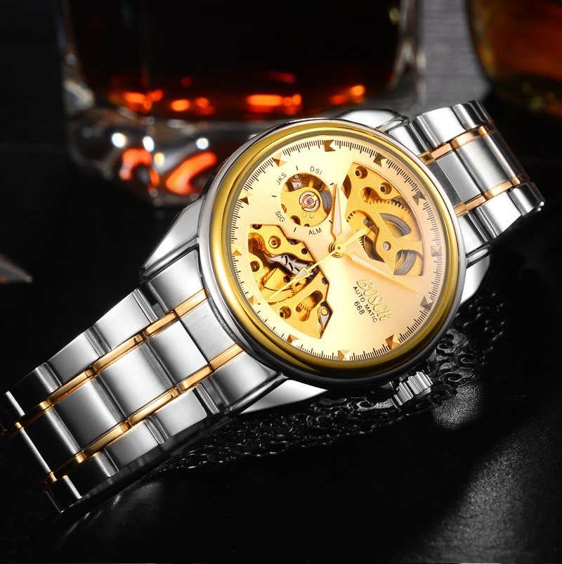 HTB1Z.sZblOD3KVjSZFFq6An9pXaY Men's Watches Automatic Mechanical Gold Watch Male Skeleton Dial Waterproof Stainless Steel Band Bosck Sports Watches Self Wind