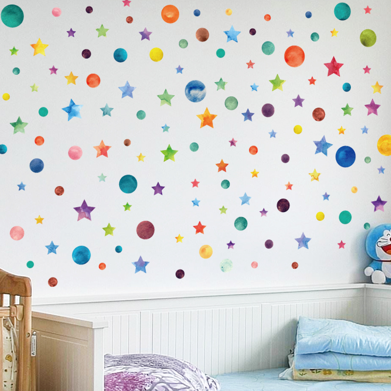 Colors For Kids Room: Rainbow Color Dots Star Wall Sticker For Kids Room