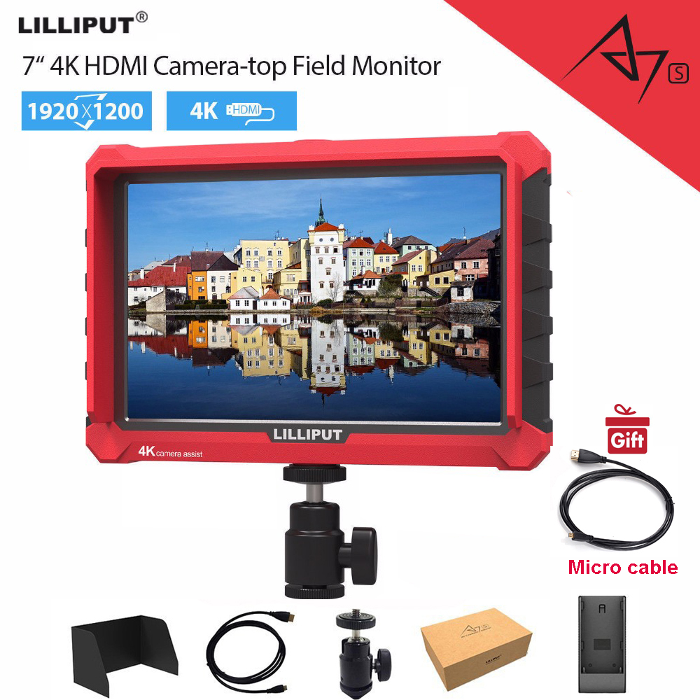 Lilliput A7s 7 inch 1920x1200 HD IPS Screen 500cd m2 Camera Field Monitor 4K Video For