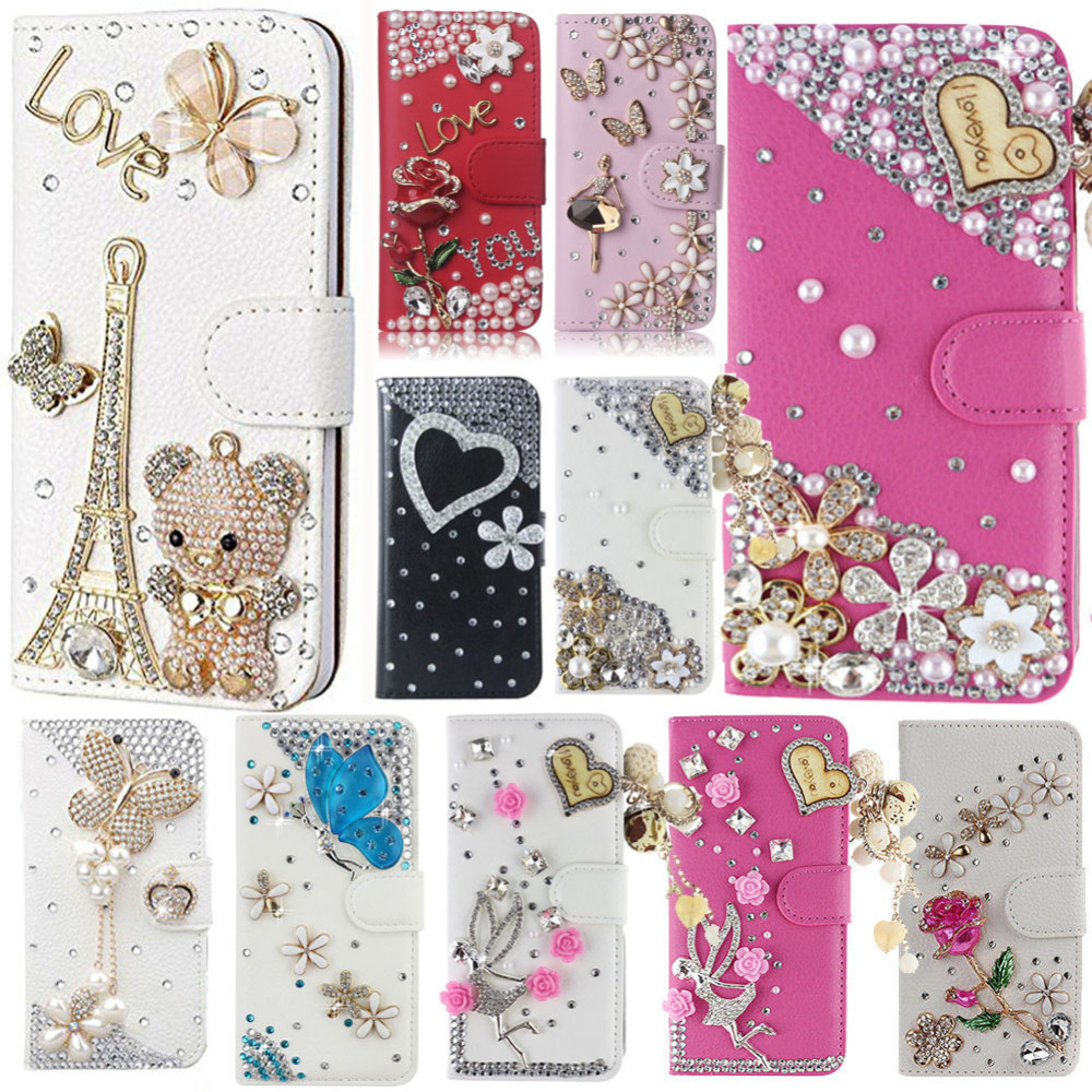 US $7 15 10% OFF|Bling Rhinestone Protective Cases For LG Aristo 2/LV3 2018  Flip Leather Wallet Case Cover With Card Slot Phone Bag Purse Diamond-in
