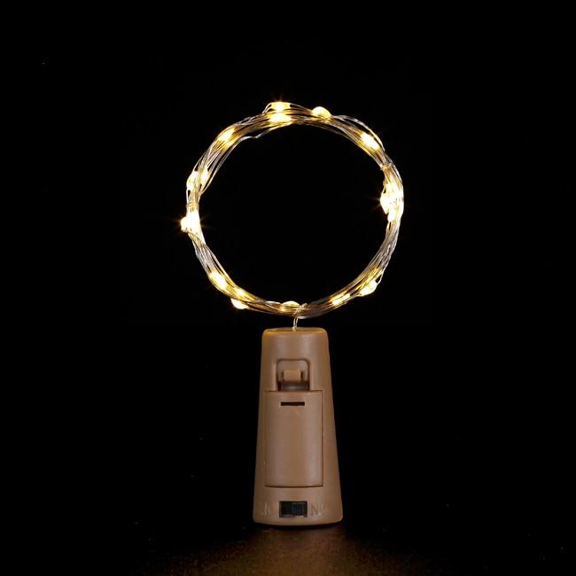 2 м серебряной проволоки Фея гирлянда пробка для бутылки для Стекло ремесло светодиодный гирлянды для свадьбы, Рождества, год Праздничные украшения - Испускаемый цвет: Тёплый белый