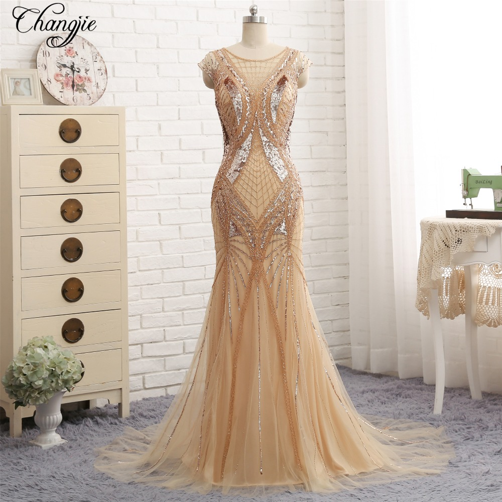 Gorgeous New Mermaid Long   Evening     Dress   O-Neck Cap Sleeve Floor Length Beading Tulle Prom   Dresses   Party Gowns kaftan