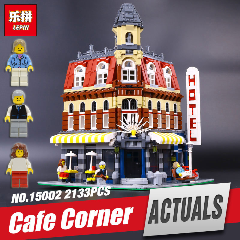 LEPIN 15002 Cafe Corner Model Educational Building Kits Blocks Kid Funny Toy Gift brinquedos legoing 10182 for children gift new lepin 15002 2133pcs cafe corner model building kits blocks kid diy educational toy children day gift brinquedos 10182