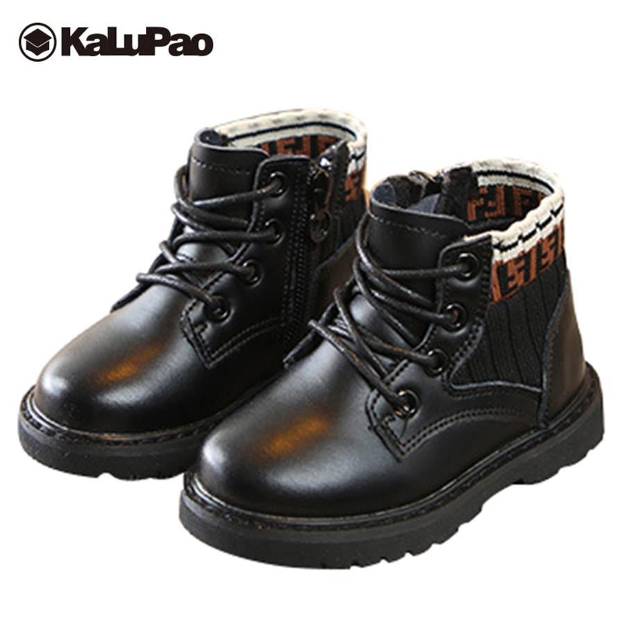 Kalupao children winter bootsblack baby boys girls genuine leather boots with fur anti slip kids warm winter boots shoes replay replay ma964 953732 009