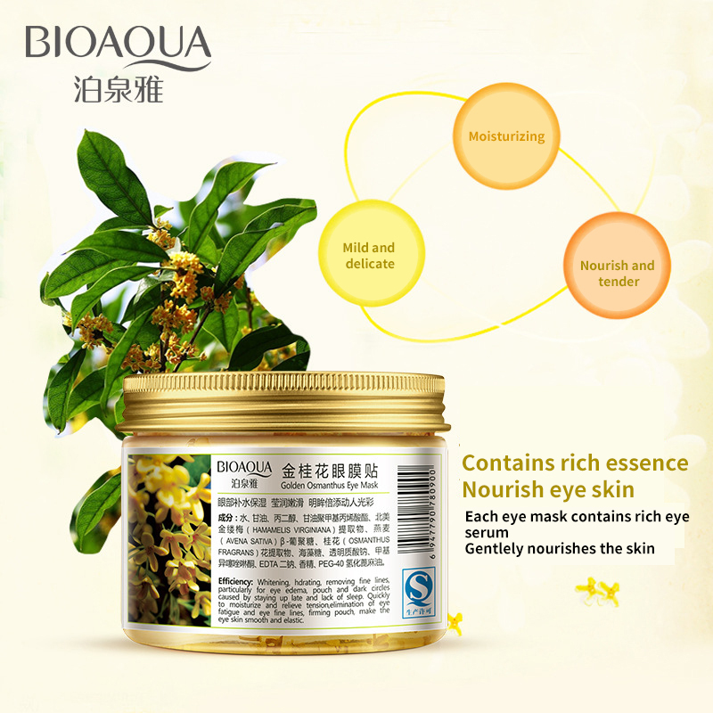 BIOAQUA Gold Osmanthus Eye Mask 80 Pcs/ Bottle Eye care Collagen gel Whey Protein Sleep Patche Remover dark Circles Eye Bag 4