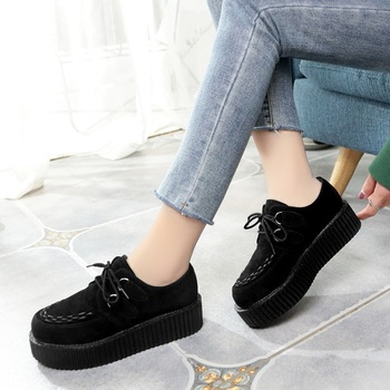 LAKESHI Creepers Women Shoes Large Size 41 Flat Platform Shoes Lace-Up Round Toe Women Flats Casual Shoes Solid Female Shoes 1
