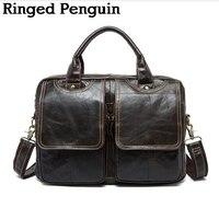 Men Luxury Vintage Handbag Cowhide Genuine Leather Bags Mens Messenger Shoulder Bag Crossbody Men S Briefcase